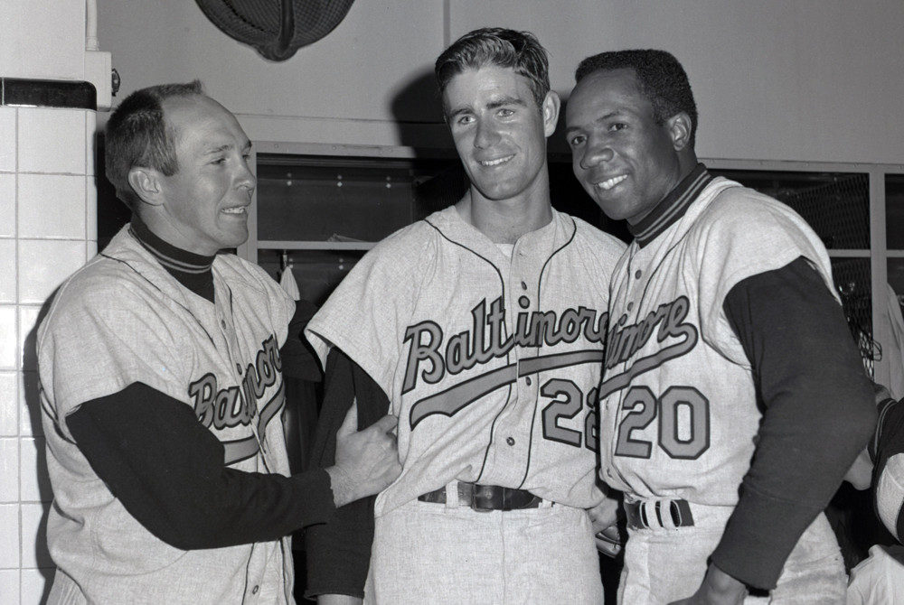 Brooks Robinson, Jim Palmer and Frank Robinson